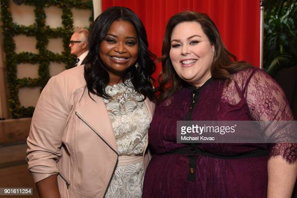 Octavia Spencer and Chrissy Metz attend the 18th Annual AFI Awards at Four Seasons Hotel Los Angeles at Beverly Hills on January 5 2018 in Los...