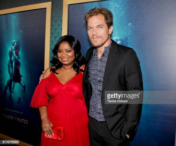 Octavia Spencer and Michael Shannon attend the premiere of 'The Shape Of Water' at Academy Of Motion Picture Arts And Sciences on November 15 2017 in...