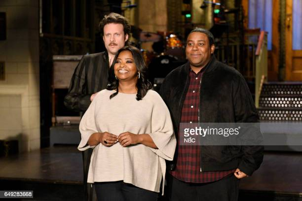 LIVE 'Octavia Spencer' Episode 1719 Pictured Musical guest Father John Misty host Octavia Spencer and Kenan Thompson pose in Studio 8H on March 2 2017