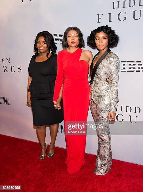 Octavia Spencer Taraji P Henson and Janelle Monae attend the Hidden Figures New York special screening on December 10 2016 in New York City