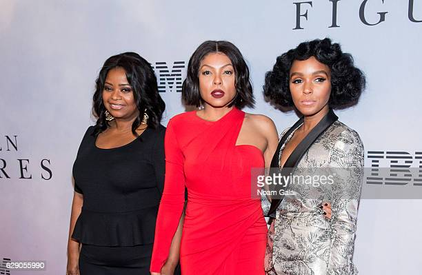 "Octavia Spencer, Taraji P. Henson and Janelle Monae attend the ""Hidden Figures"" New York special screening on December 10, 2016 in New York City."