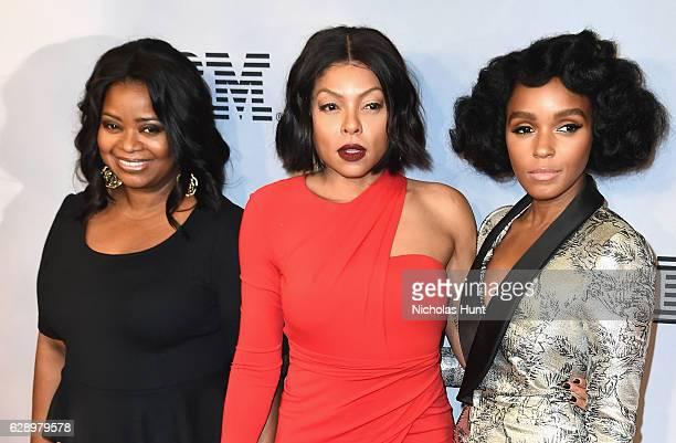 Octavia Spencer Taraji P Henson and Janelle Monae attends the Hidden Figures New York Special Screening on December 10 2016 in New York City