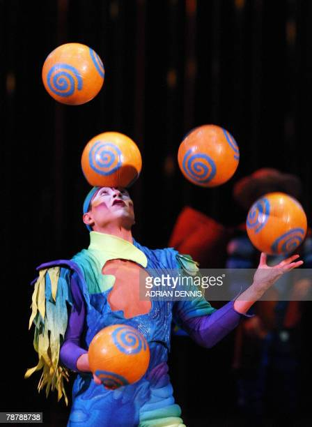 Octavio Alegria the juggler performs during the dress rehearsal of Cirque Du Soleil's Varekai show at The Royal Albert Hall in London 05 January 2008...