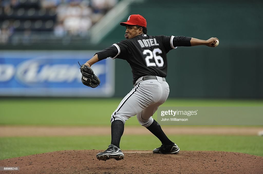 Octavio Dotel of the Chicago White Sox pitches during the game against the Kansas City Royals at Kauffman Stadium in Kansas City, Missouri on Saturday, July 4, 2009. The Royals defeated the White Sox 6-4.