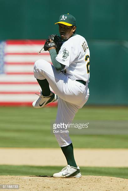 Octavio Dotel of the Oakland A's pitches during the MLB game against the Chicago White Sox at the Network Associates Coliseum on July 18 2004 The A's...
