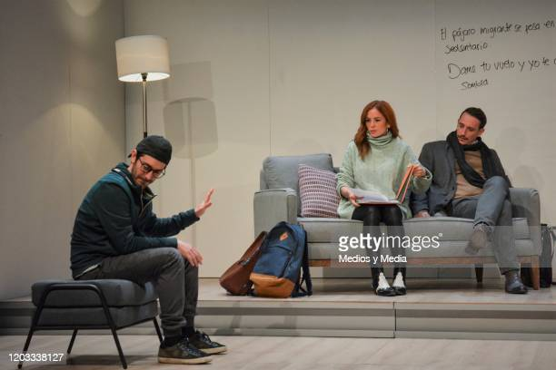 Octavio Hinojosa Begona Narvaez and Cristian Magaloni act during the premiere of the play Seminar at Teatro Milan on January 31 2020 in Mexico City...