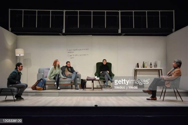 Octavio Hinojosa Begona Narvaez Cristian Magaloni Aida del Rio and Rafael Sanchez Navarro act during the premiere of the play Seminar at Teatro Milan...