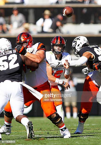 Oregon State Beavers Quarterback, Conor Blount throws the ball during a Pac-12 conference match-up between the Colorado Buffaloes and the visiting...