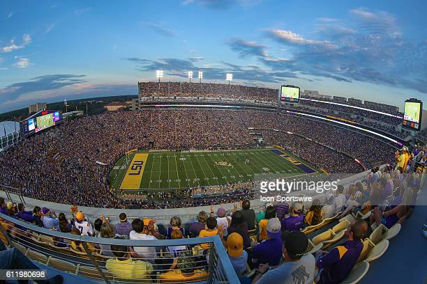 View from atop Tiger Stadium during the game between the Missouri Tigers and the LSU Tigers at Tiger Stadium in Baton Rouge LA