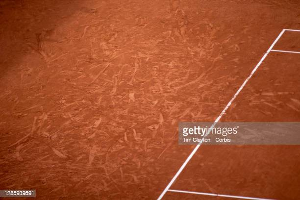 October 01. Players markings on the clay court surface during the Denis Shapovalov of Canada match against Roberto Carballes Baena of Spain in the...