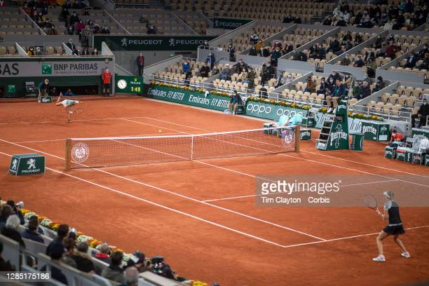 October 02. A general view of Caroline Garcia of France in action against Elise Mertens of Belgium in the third round of the Women's Singles...