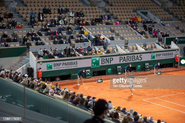 October 02. A general view of Elise Mertens of Belgium in action against Caroline Garcia of France in the third round of the Women's Singles...