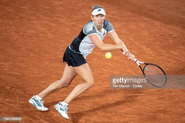 October 02. Elise Mertens of Belgium in action against Caroline Garcia of France in the third round of the Women's Singles competition on Court...