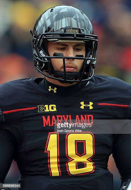 Maryland Terrapins quarterback Daxx Garman during a Big 10 football game against Michigan at Capital One Field at Byrd Stadium in College Park...
