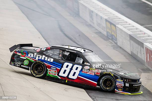 NASCAR XFINITY Series driver Ben Rhodes driver of the Alpha Energy Solutions Chevy spins on the front stretch and hits the inside wall during the...