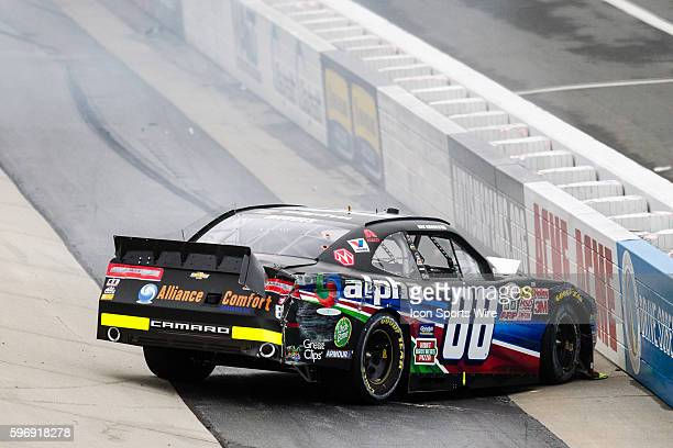 NASCAR XFINITY Series driver Ben Rhodes driver of the Alpha Energy Solutions Chevy hits the inside wall during the NASCAR XFINITY Series Hisense 200...