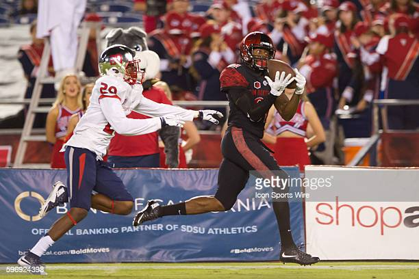 San Diego State Aztecs wide receiver Eric Judge catches a deep ball and scores in the fourth quarter during the game between the San Diego State...