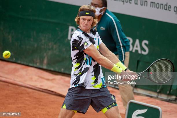 October 03. Andrey Rublev of Russia in action against Kevin Anderson of South Africa in the third round of the singles competition on CourtSimonne...