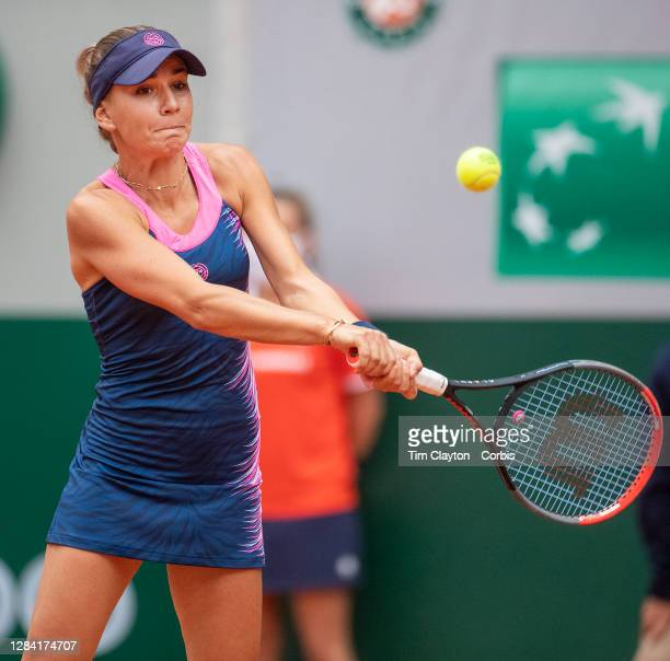 October 03. Irina Bara of Romania in action against Sofia Kenin of the United States in the third round of the Women's Singles competition on Court...