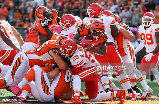 Running back Jeremy Hill of the Cincinnati Bengals scores a touchdown during the fourth quarter of their 3621 win over the Kansas City Chiefs at Paul...