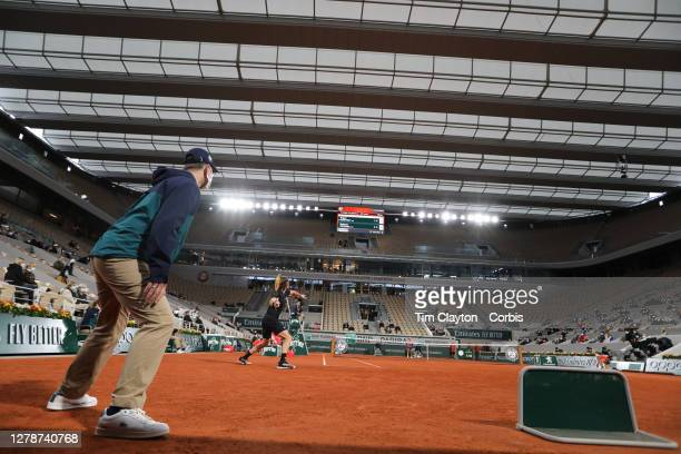 October 05 A general view of Stefanos Tsitsipas of Greece in action against Grigor Dimitrov of Bulgaria in the fourth round of the singles...