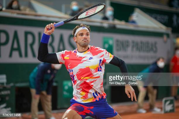 October 05 Grigor Dimitrov of Bulgaria during his match against Stefanos Tsitsipas of Greece in the fourth round of the Men's Singles competition on...