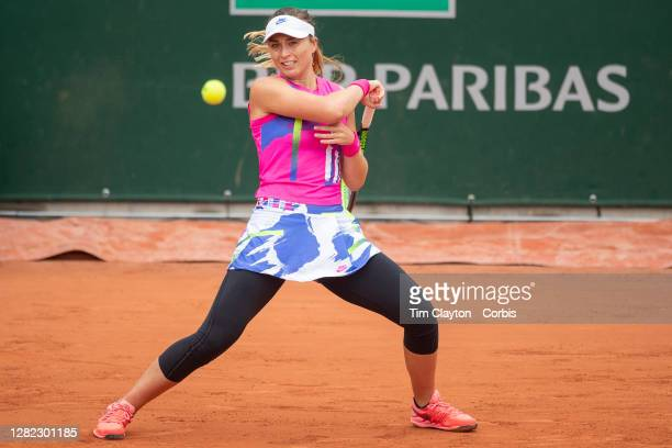 October 05. Paula Badosa of Spain in action against Laura Siegemund of Germany in the fourth round of the Women's Singles competition on Court...