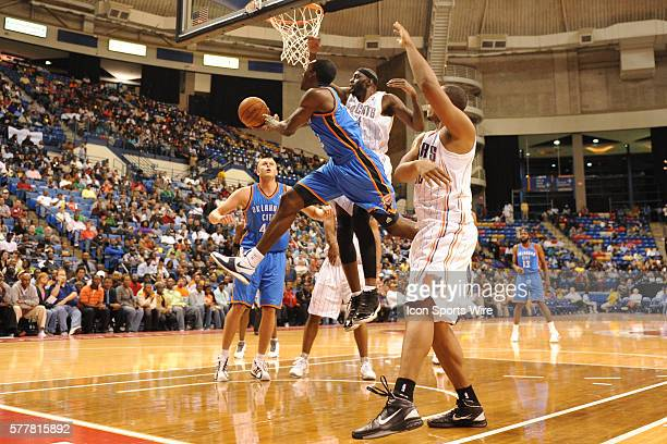 Oklahoma City forward Jeff Green goes to the hoop during a game between the Oklahoma City Thunder and the Charlotte Bobcats at the Crown Coliseum in...