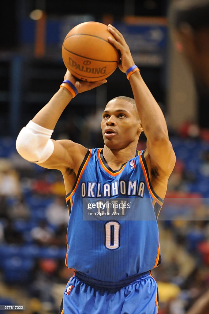Oklahoma City point guard Russell Westbrook (0) during a game between the Oklahoma City Thunder and the Charlotte Bobcats at the Crown Coliseum in Fayetteville, North Carolina. The Thunder won 97-93.