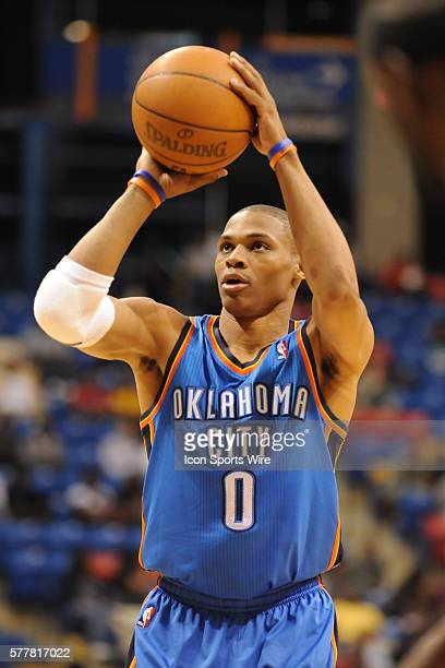 Oklahoma City point guard Russell Westbrook during a game between the Oklahoma City Thunder and the Charlotte Bobcats at the Crown Coliseum in...