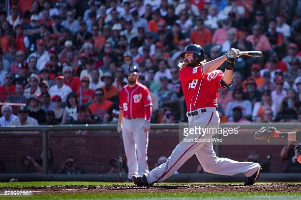 Washington Nationals right fielder Jayson Werth at bat and following the trajectory of the ball during game 3 of the National League Division Series...