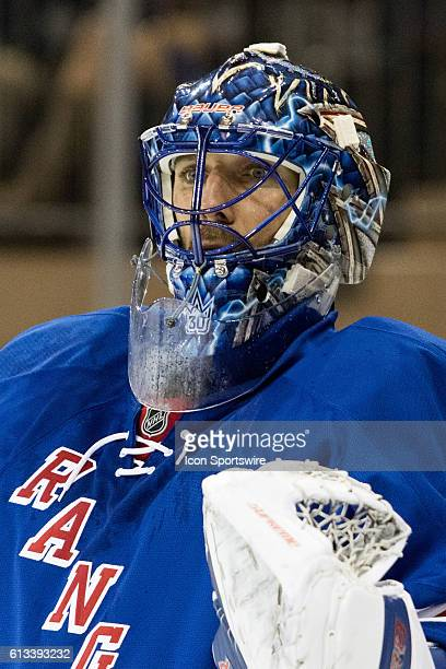 New York Rangers Goalie Henrik Lundqvist during the second period of a preseason NHL game between the Philadelphia Flyers and the New York Rangers at...