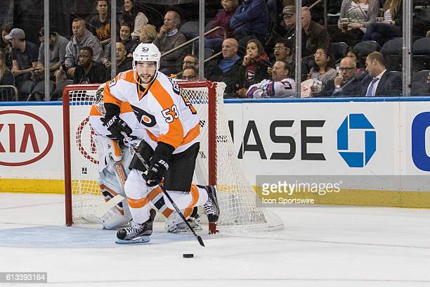 Philadelphia Flyers Defenseman Shayne Gostisbehere with the puck in front of the Flyers net during the first period of a preseason NHL game between...
