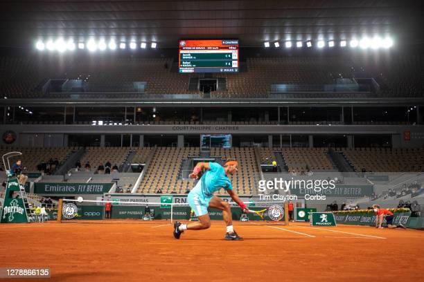 October 06. A general view of Rafael Nadal of Spain in action against Jannik Sinner of Italy in the Quarter Finals of the singles competition on...