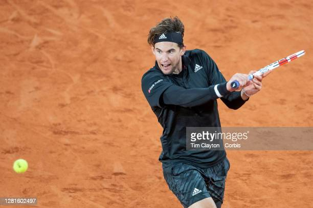 October 06 Dominic Thiem of Austria in action against Diego Schwartzman of Argentina in the Quarter Finals of the Men's Singles competition on Court...