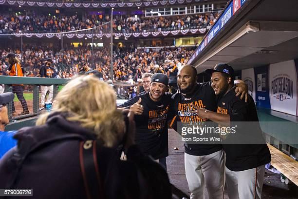 San Francisco Giants relief pitcher Yusmeiro Petit San Francisco Giants center fielder Gregor Blanco and San Francisco Giants catcher Hector Sanchez...
