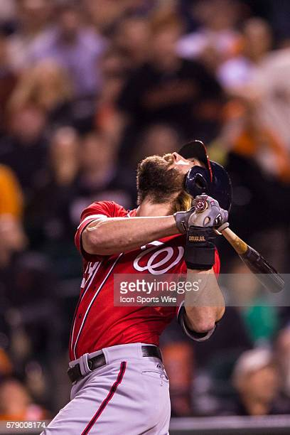 Washington Nationals right fielder Jayson Werth looks up to follow the trajectory of the ball during the game between the San Francisco Giants and...