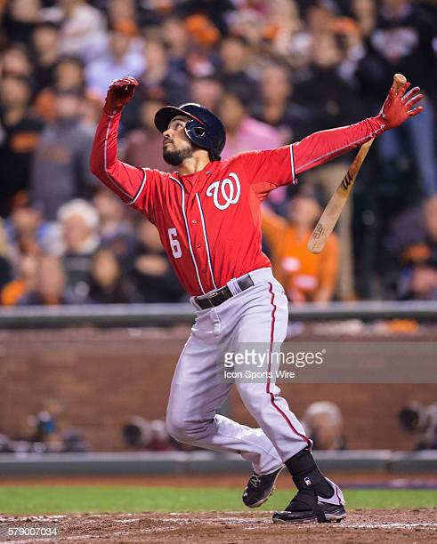 Washington Nationals third baseman Anthony Rendon at bat and following the trajectory of the ball in the 8th inning during the game between the San...