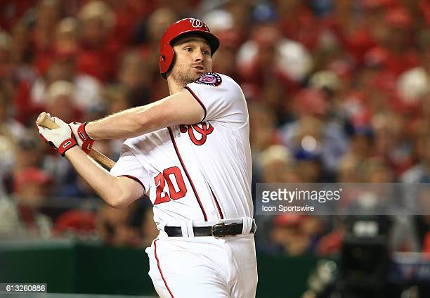 Washington Nationals second baseman Daniel Murphy takes a swing in the eighth inning during game one of the NLDS at Nationals Park in Washington DC...