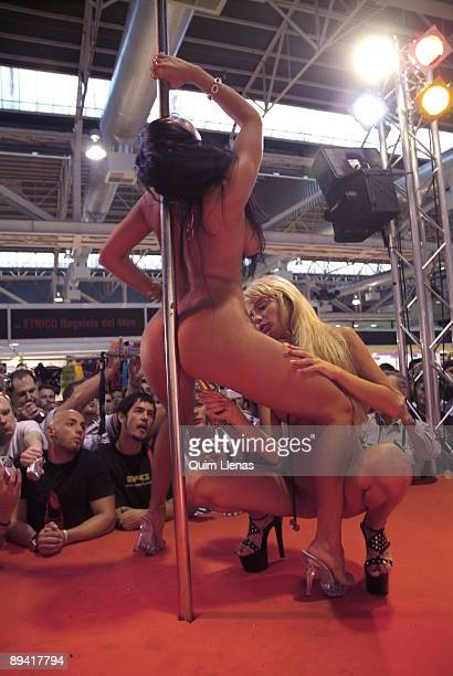 October 08 2006 Barcelona Catalonia Spain International Festival of Erotic Movies In the image two actresses performaning in a lesbian spectacle with...