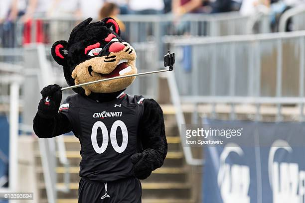 Cincinnati Bearcat mascot takes a selfie during the first half of a NCAA football game between AAC rivals the Cincinnati Bearcats and the UConn...