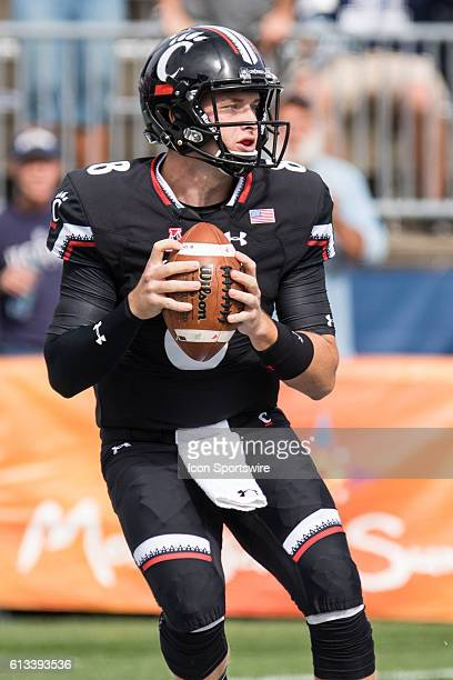 Cincinnati Quarterback Hayden Moore back to pass during the first half of a NCAA football game between AAC rivals the Cincinnati Bearcats and the...