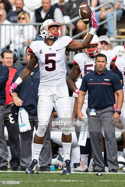 UConn Wide Receiver Noel Thomas Jr reaches up to grab a bobbled pass during the first half of a NCAA football game between AAC rivals the Cincinnati...