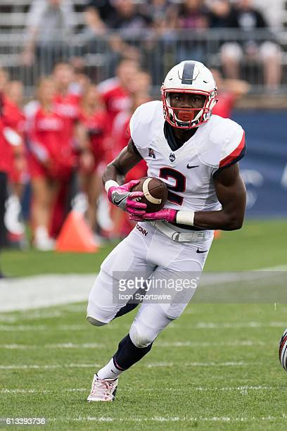 UConn Wide Receiver Tyraiq Beals runs in a pass from Quarterback Bryant Shirreffs for a 59 yard touchdown pass during the first half of a NCAA...