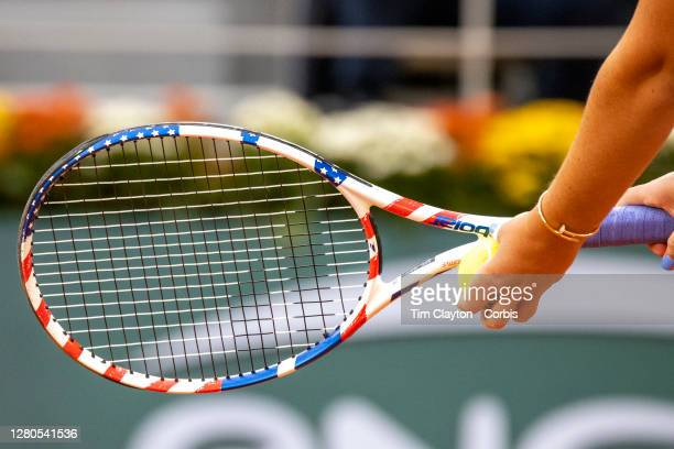 October 08. The Stars and Stripes racquet of Sofia Kenin of the United States in action against Petra Kvitova of the Czech Republic in the Semi...