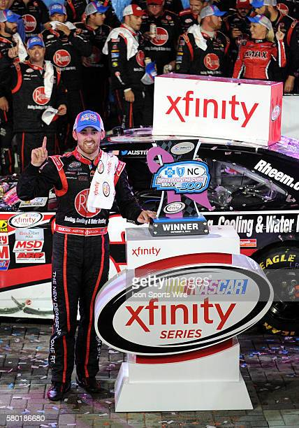 Xfinity Series driver Austin Dillion wins the Xfinity Series Drive For a Cure 300 at Charlotte Motor Speedway in ConcordNC