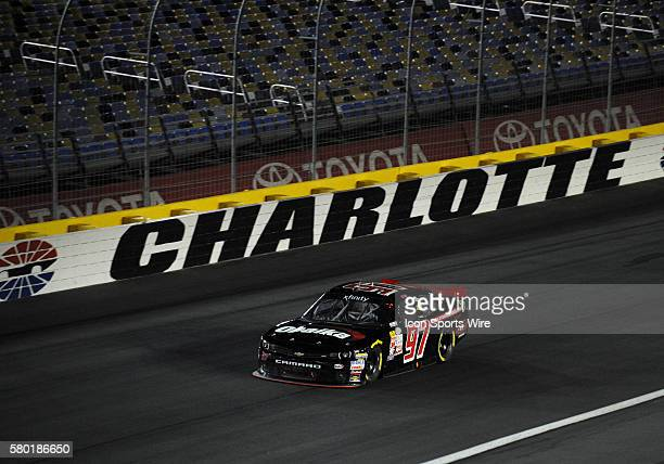 Xfinity Series driver Ryan Ellis through turn four in the Xfinity Series Drive For a Cure 300 at Charlotte Motor Speedway in ConcordNC