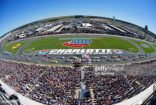 An overview of the front stretch during the running of the Bank of America 500 NASCAR Sprint Cup series race at the Charlotte Motor Speedway in...