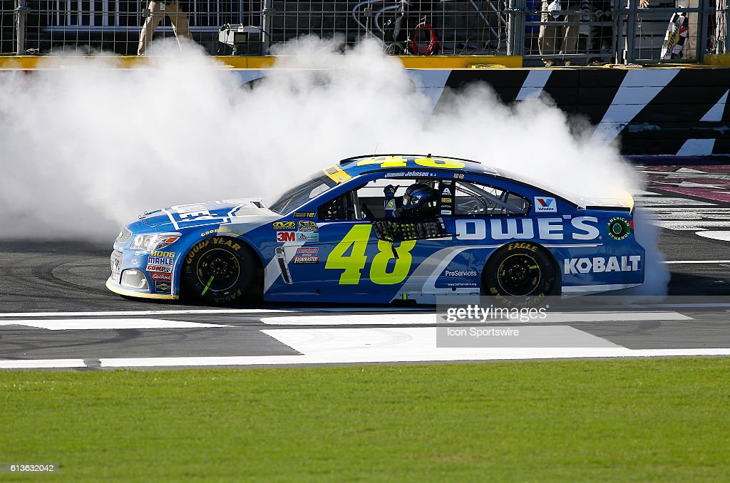 Jimmie Johnson (48) wins the rain delayed Bank of America 500 NASCAR Sprint Cup series race at the Charlotte Motor Speedway in Concord, NC.
