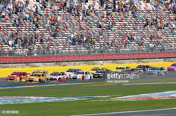 The field of 40 race cars gets ready to take the green flag to start the rain delayed running of the Bank of America 500 NASCAR Sprint Cup series...